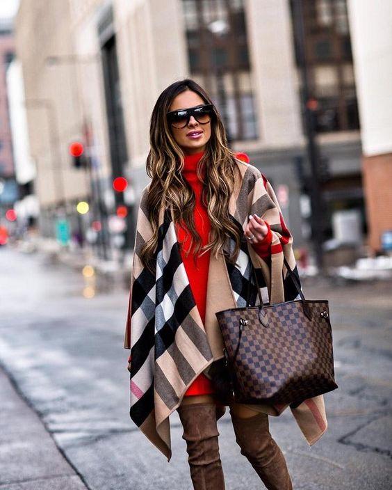 Как носить шарф-плед и выглядеть стильно