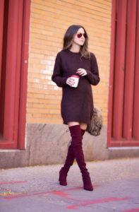 Burgundy Red Street Style Trend 3 197x300 - Как выбрать и как правильно сочетать ботфорты