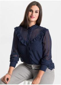 bluzka iz shifona v goroshek 3 214x300 - Как носить блузку после 40: 5 блузок, в которых вы будете выглядеть моложе
